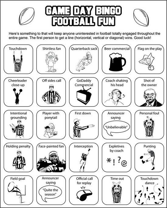 Printable Super Bowl Bingo cards keep everyone interested u2014 even - good luck cards to print