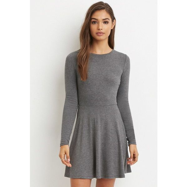 a7eab5d1eb15 Forever 21 Women s Heathered Skater Dress (6.340 CLP) ❤ liked on Polyvore  featuring dresses