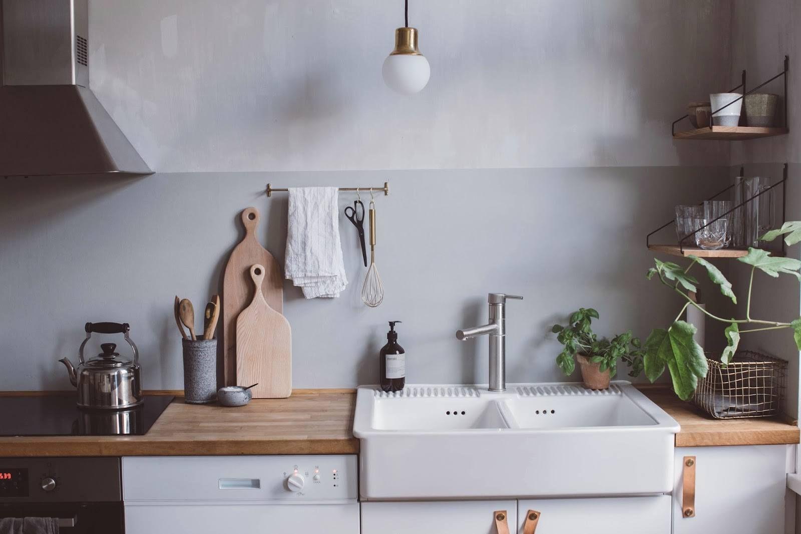 home, interior, kitchen, simple, belfast sink, wood, grey ...