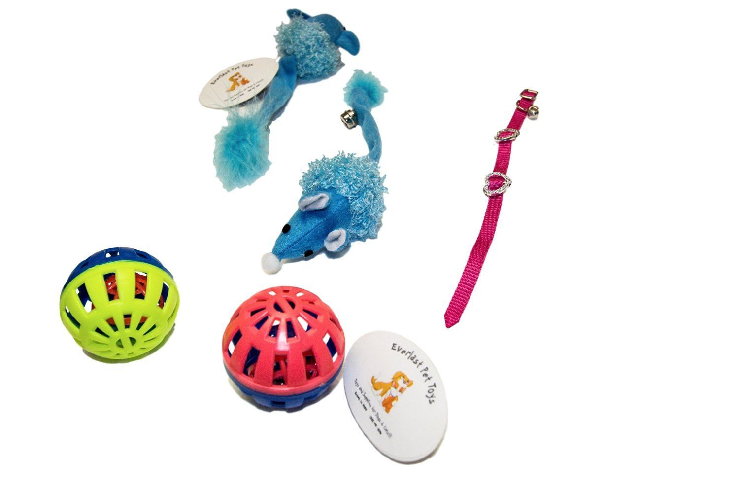 Bell Balls Set 2 Feathered Tail Mice W Bell Collar Pet Toys