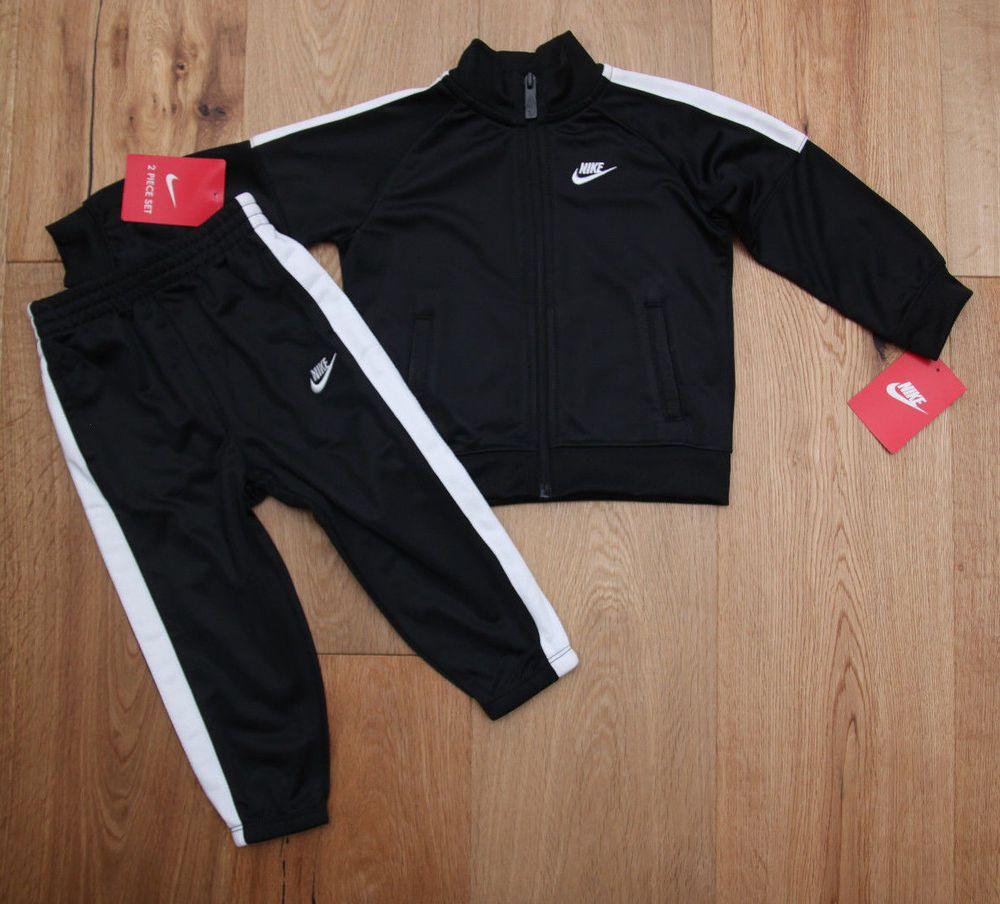 1fdf4c0d20b Nike Baby Boy 2 Piece Jogging Set ~ Tracksuit ~ Black   White ~  Nike   Swoosh  TrackSuit  JoggingSet  BabyBoy  Black White