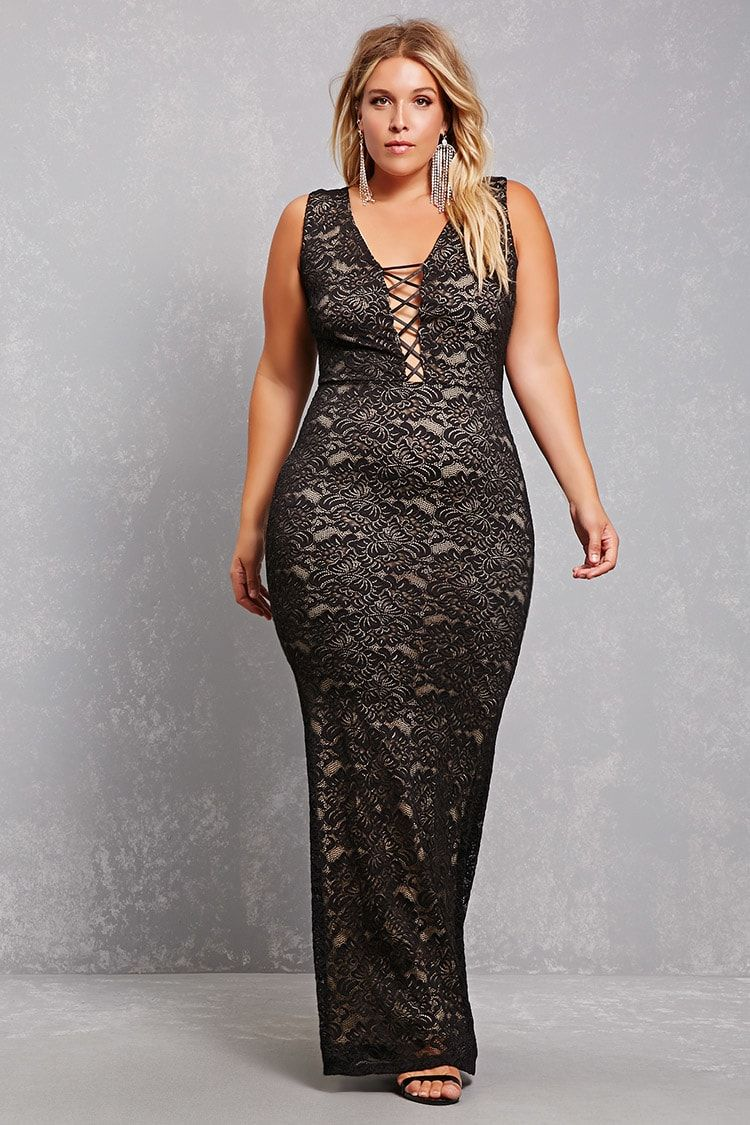A sleeveless lace maxi dress featuring a laceup plunging neckline