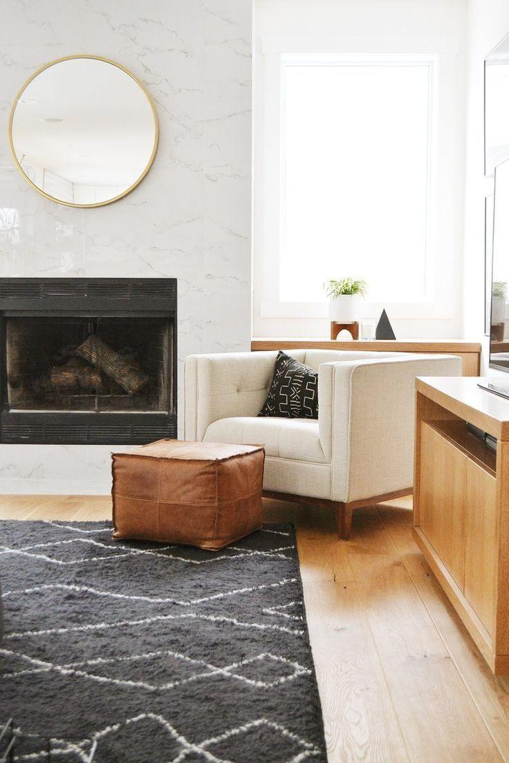 Jaclyn Peters Design Benjamin Moore Simply White Atwood Chair   Gus Modern  White Oak Floors White