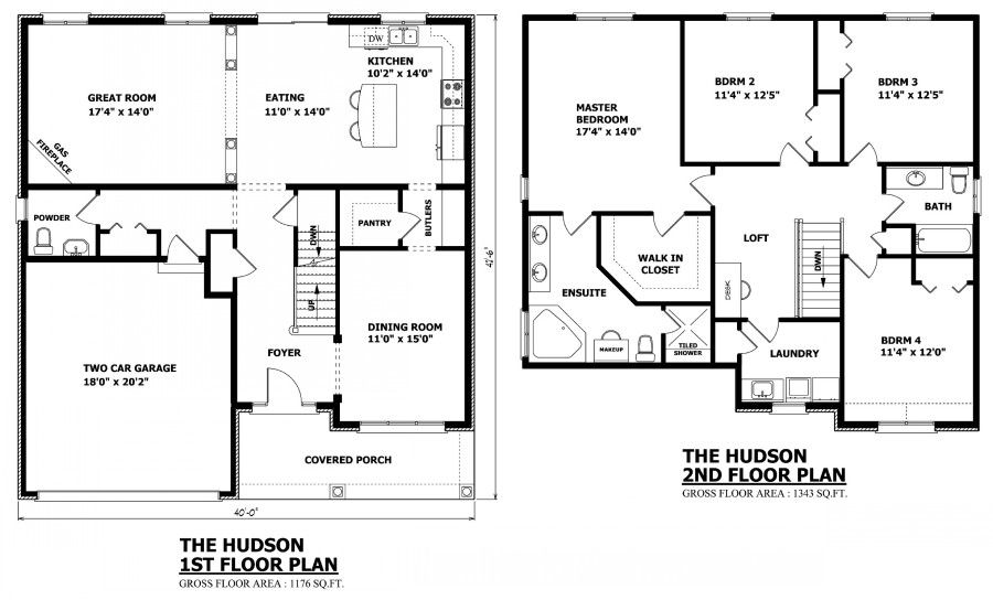 Click On Floor Plan To Enlarge Hudsonplans 0001 900 544 Inspiration Com Simple House Plans Two Storey House Plans Custom Home Plans