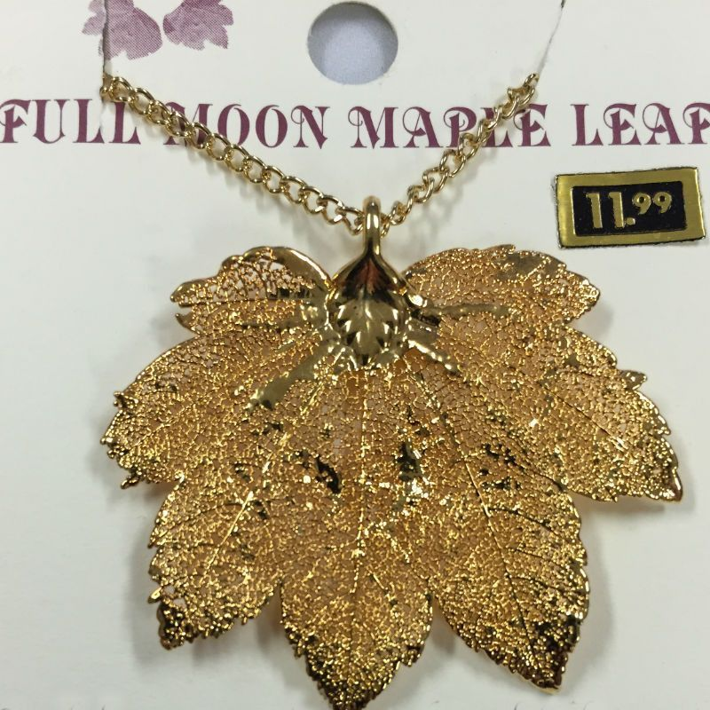 Full Moon Maple Gold Leaf Necklace