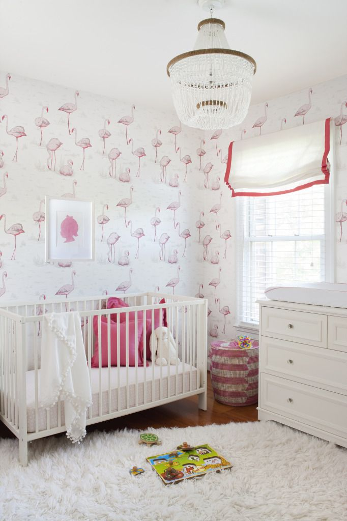 Coral and Cream Nursery with Modern Flamingo Wallpaper -we love the sweet  pops of pink