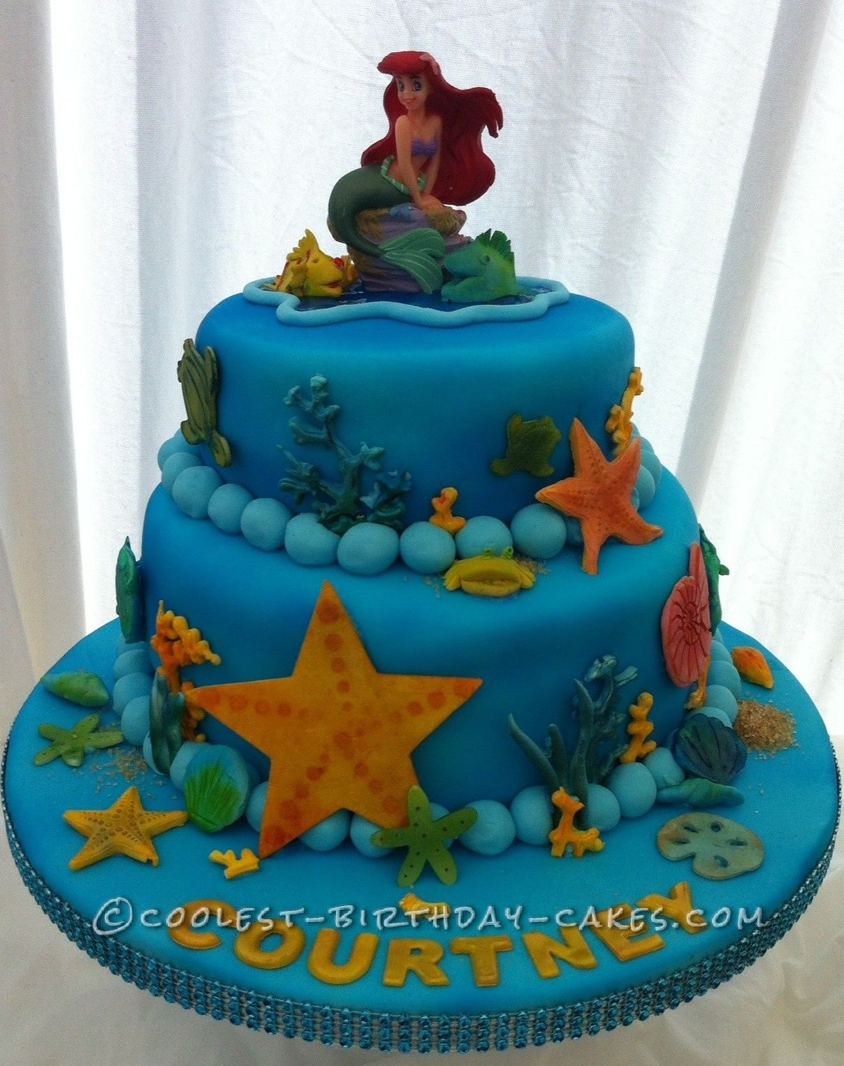 Cool Homemade 2 Tier Little Mermaid Cake