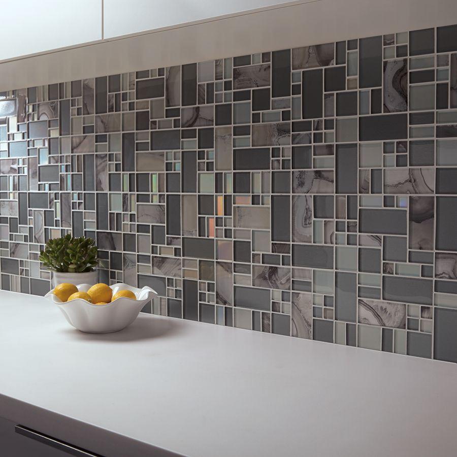 Shop Allen Roth Volcanic Laser Pewter Glass Mosaic Random Wall