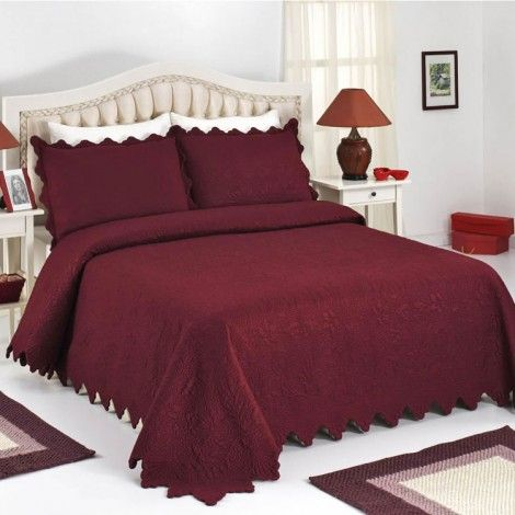 Fiona Burgundy Bed Cover Set Bedroom Burgundy Bedding