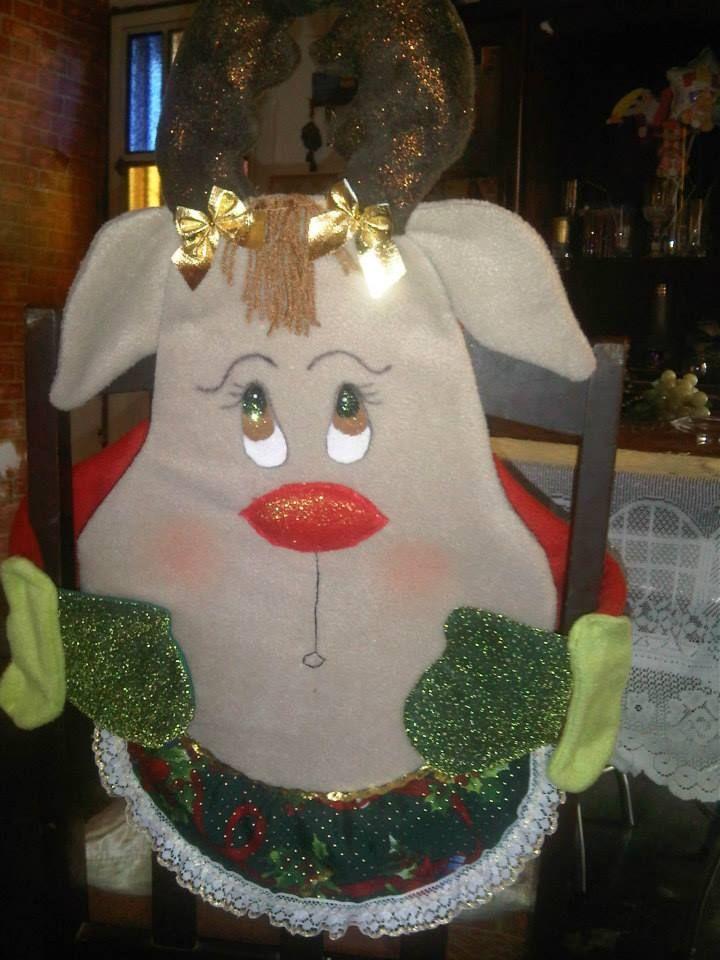 Forro de silla de reno navidad decoracion sillas - Adornos navidenos para sillas ...