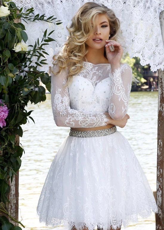Cute Two Piece Ivory Short Beaded Lace Crop Top Long Sleeves Party ...
