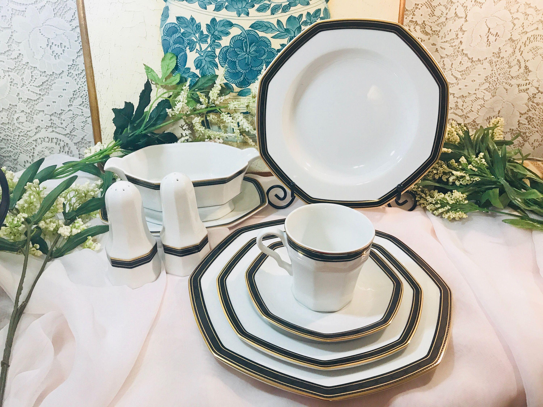 Christopher Stuart 5 Piece Dinnerware Set In Black Dress Y009 Etsy In 2020 Tea Pots Vintage Dinnerware Set Rustic Dinnerware