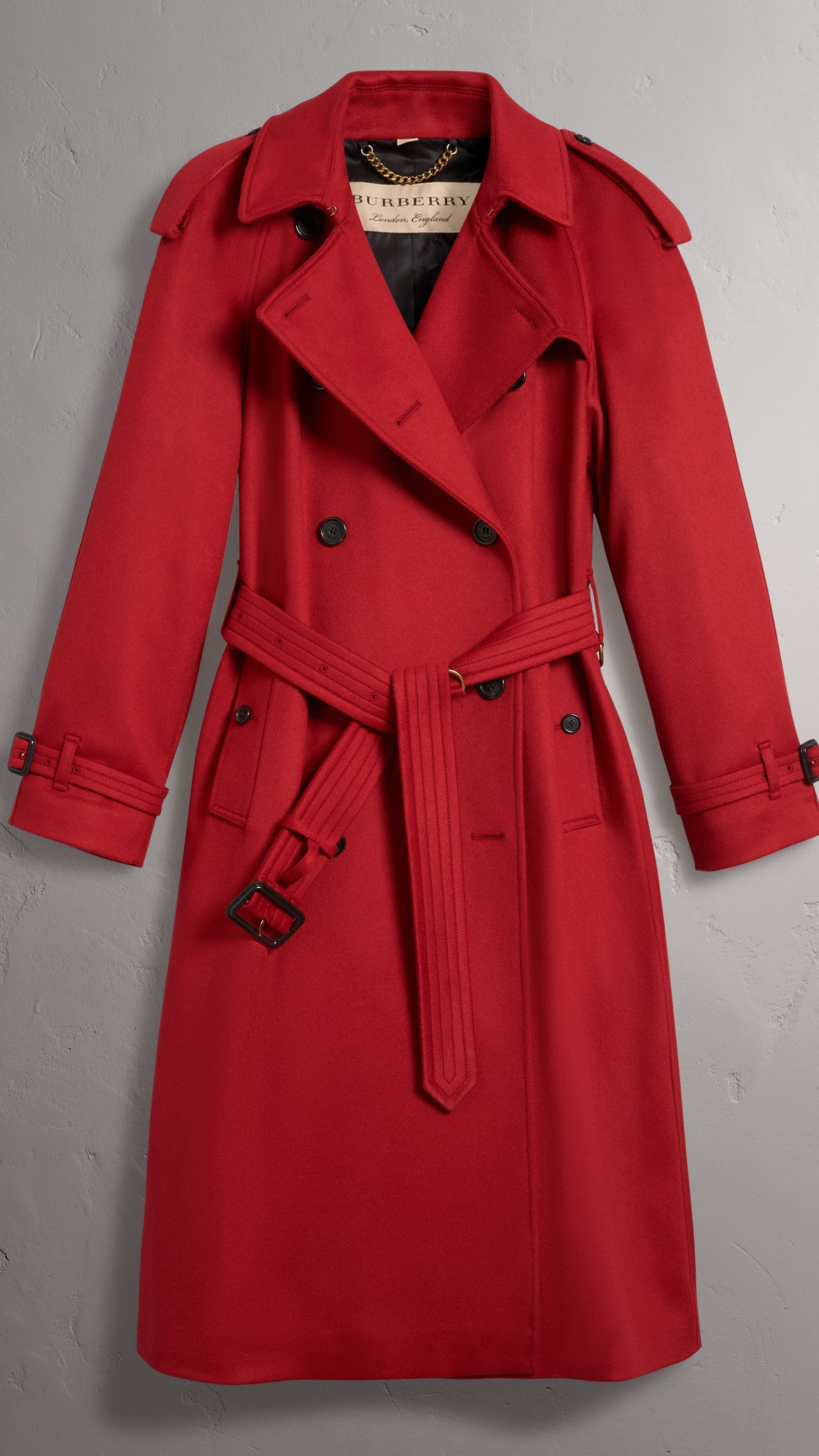 508783918ce5 Cashmere Trench Coat in Parade Red - Women