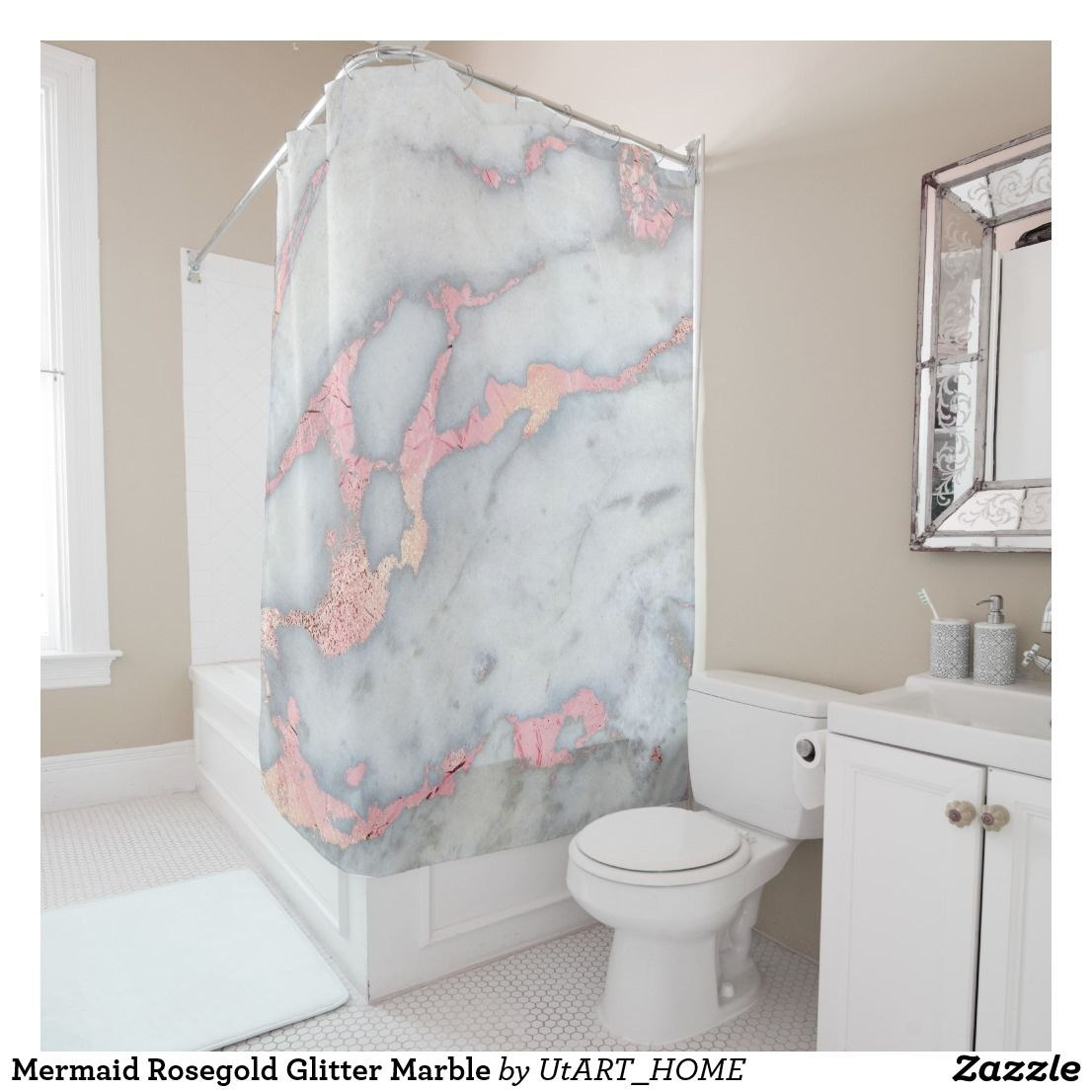 Mermaid Rosegold Glitter Marble Shower Curtain Zazzle Com Rose Gold Shower Curtain Marble Showers Light Pink Bedrooms
