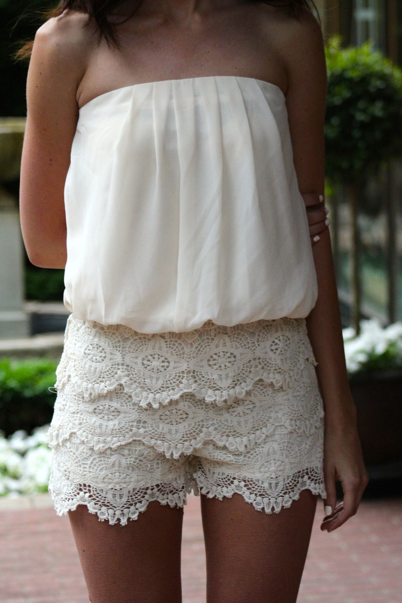 Strapless Lace Romper, Ivory | Fashion | Fashion, Lace ...