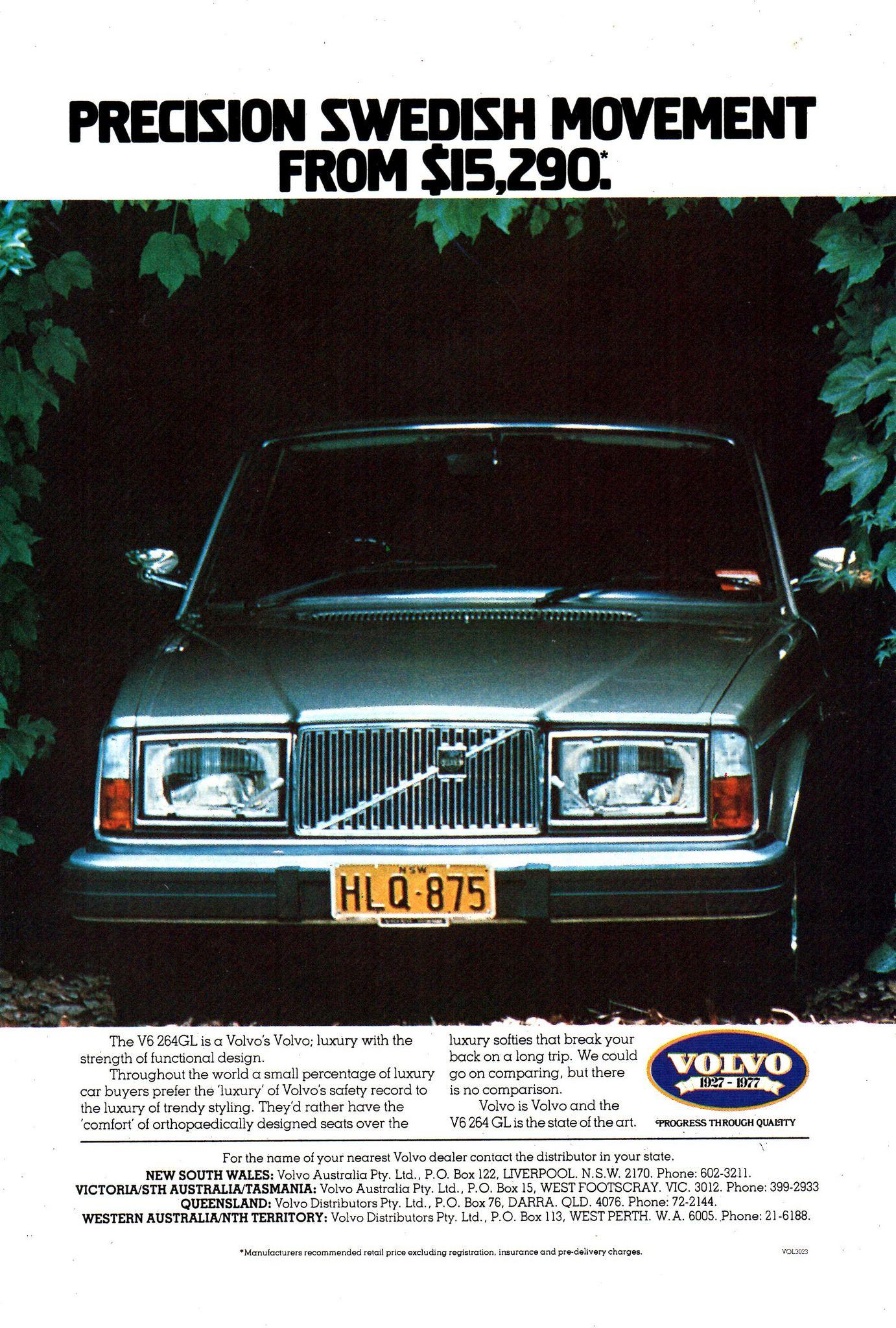 1977 Volvo 264 Gl V6 Aussie Original Magazine Advertisement