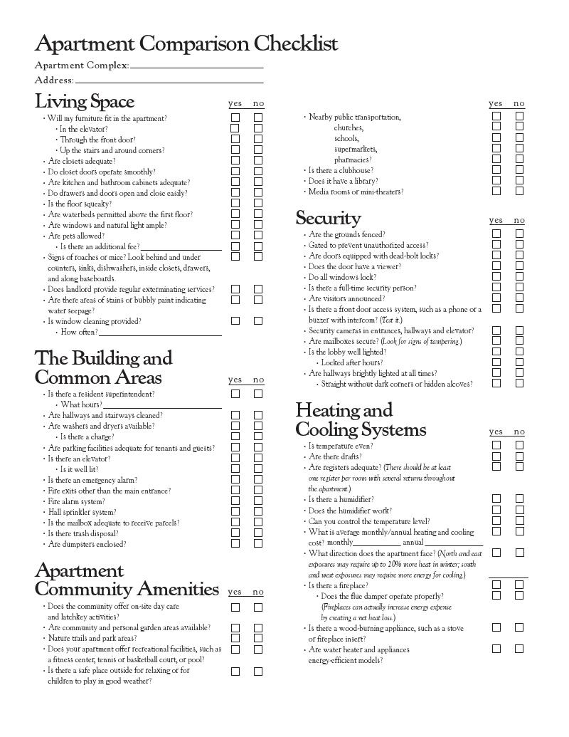 Apartment Comparison Checklist ~ Nice Apartement