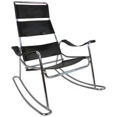 Mid Century Modern Wassily Style Leather Strap And Chrome Rocking Chair