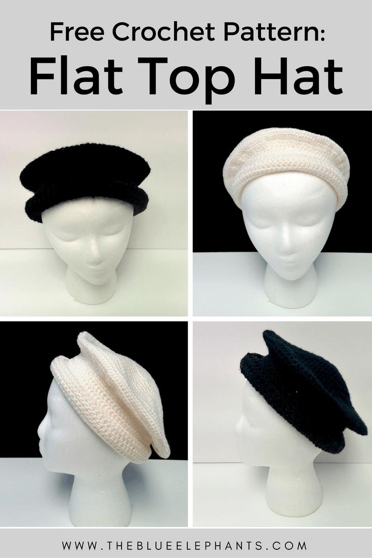Flat Top Hat FREE Crochet Pattern | Gorros, El sombrerero loco y El ...
