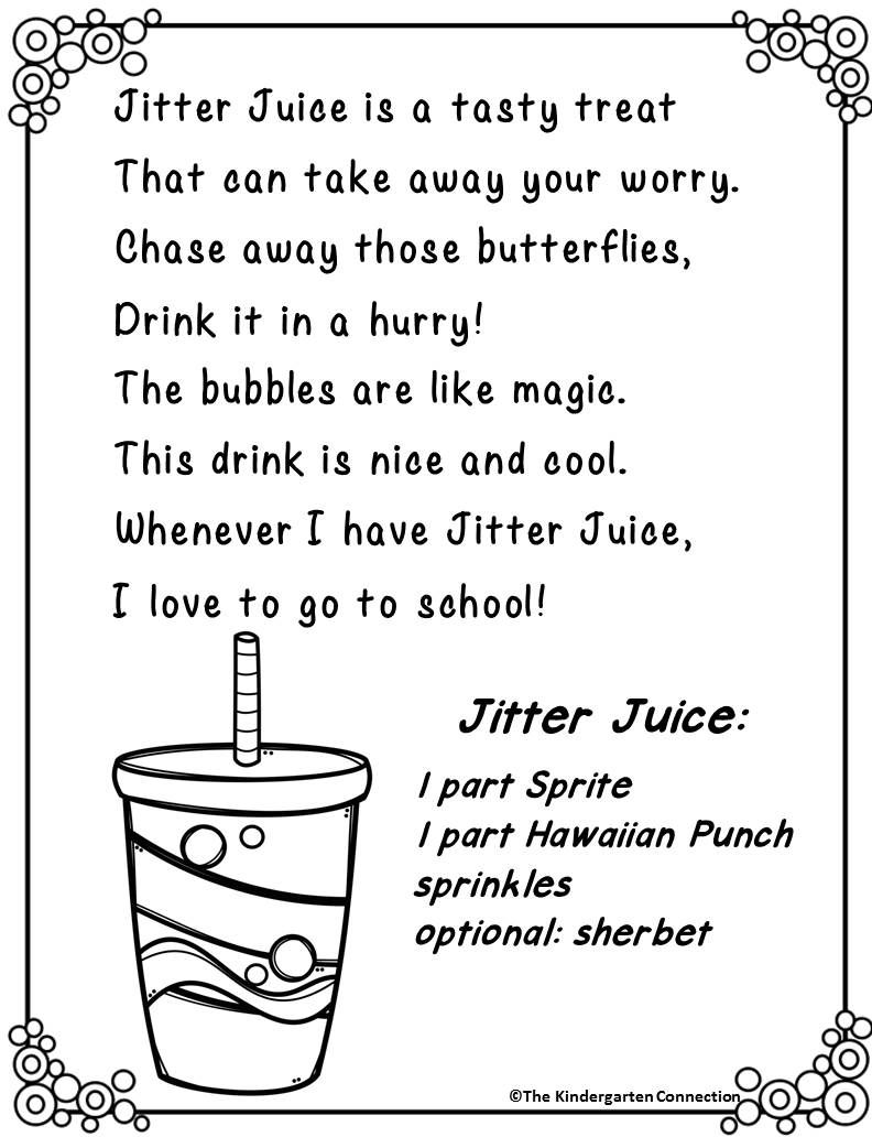 Jitter Juice Recipe Preschool First Day Kindergarten First Day