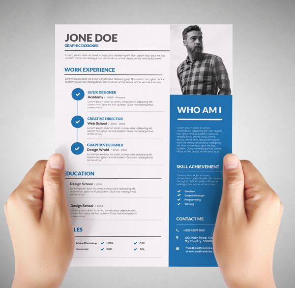 Free Resume Template for Graphic Designer                                                                                                                                                                                 More