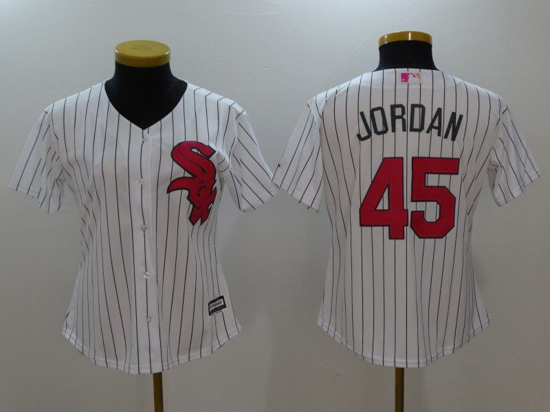 Womens 2017 MLB Chicago White Sox 45 Jordan White Jerseys  53bbf6ea8