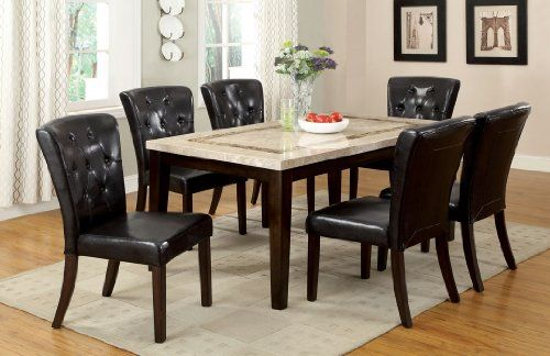 7 Pc Lisbon I Contemporary Style Dark Walunt Finish Wood Marble Top Dining Table With An Accented Bo Dining Table Marble Marble Dining Marble Dining Table Set