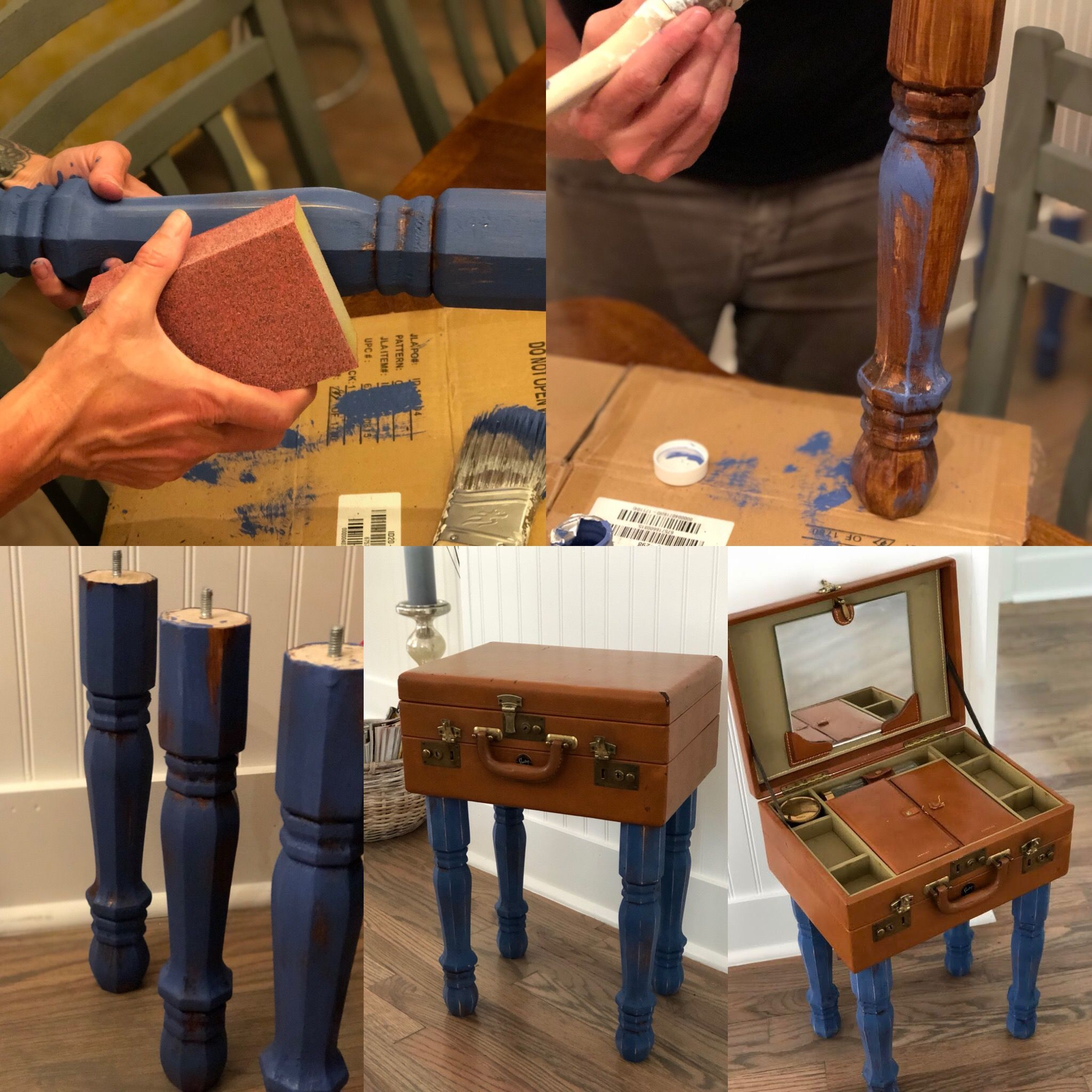 Quick side table DIY with table legs from home depot and