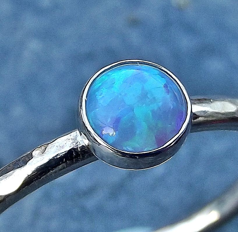 Sterling Silver Light Blue Opal Stacking Ring.