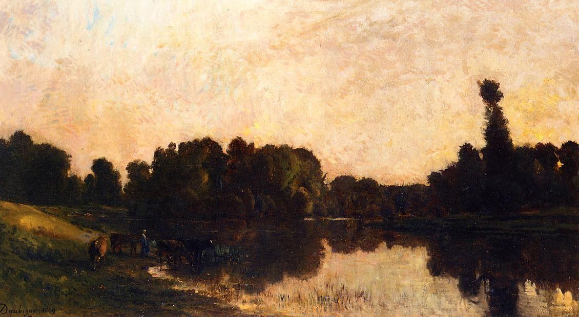 Charles-François Daubigny - Lever du jour, l'Oise, Ile de Vaux (1869)