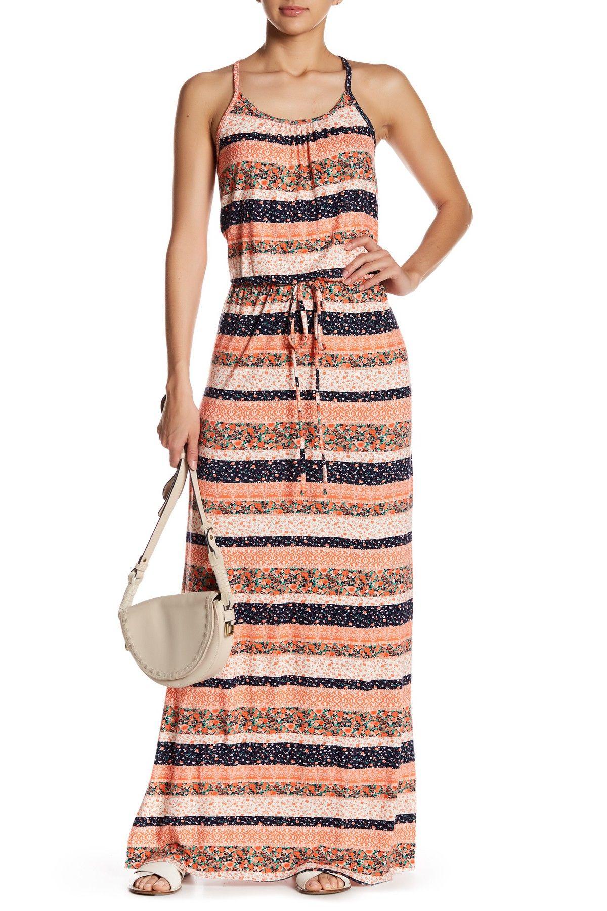 Loveappella drawstring stripe maxi dress