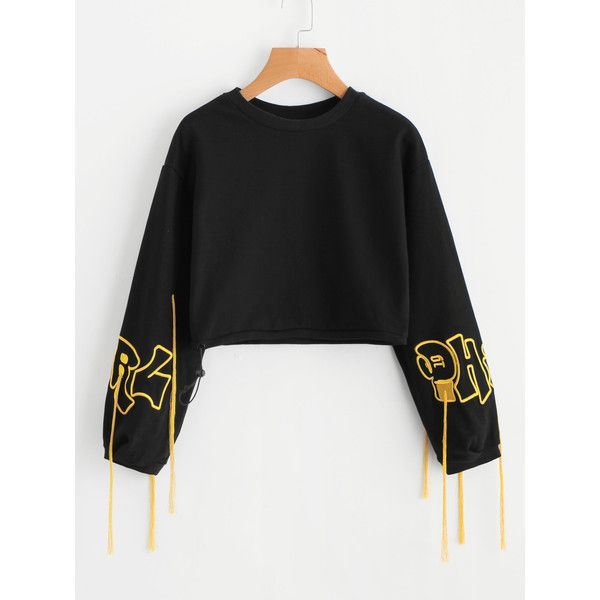 SheIn(sheinside) Fringe Detail Embroidered Crop Sweatshirt ($22) ❤ liked on  Polyvore
