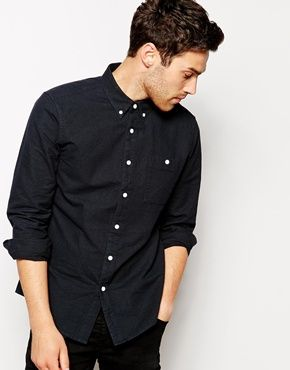 ASOS Brushed Oxford Shirt In Black With Long Sleeves | Gents ...