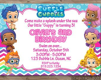 bubble guppies birthday invitation bubble by kawaiikidsdesign, Birthday invitations