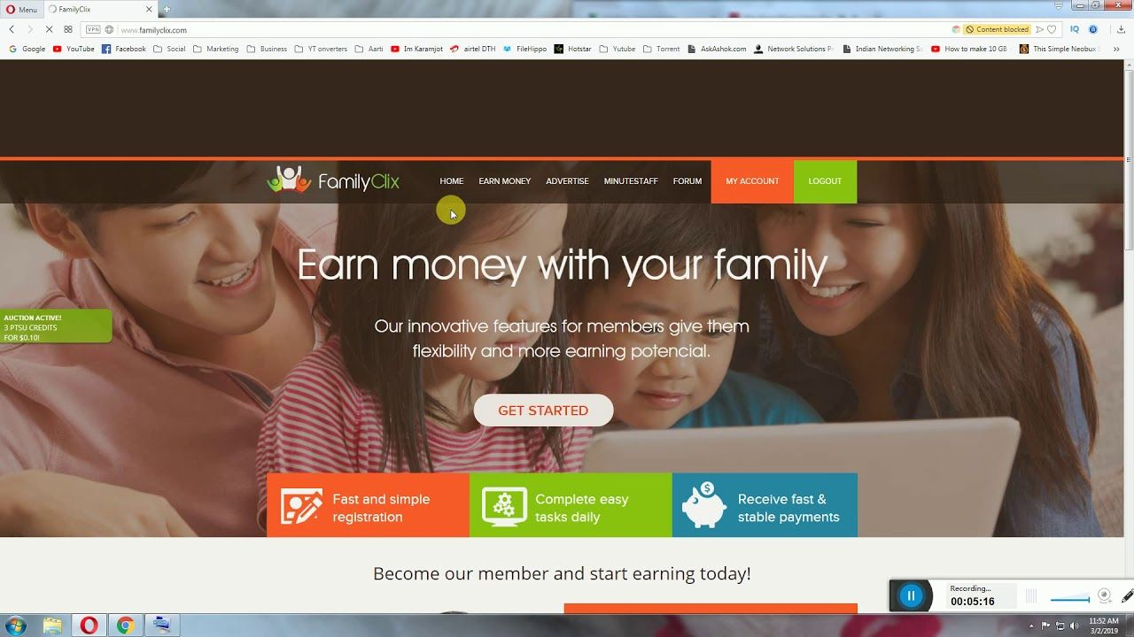 Earn 3 To 5 Per Day From Family Clix PTC Site Start