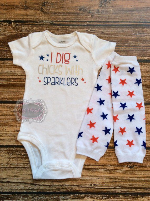 American Memorial Day Newborn Baby Romper Bodysuit Long Sleeve Clothes Outfits
