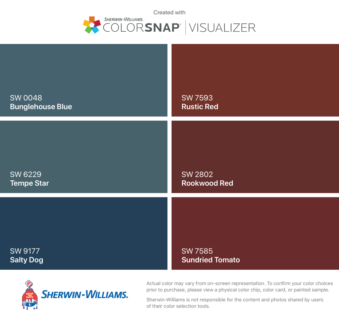I Found These Colors With Colorsnap Visualizer For Iphone By Sherwin Williams Bunglehouse Blue Sw 0048 Tempe Star S Color Chip Salty Dog Sherwin Williams