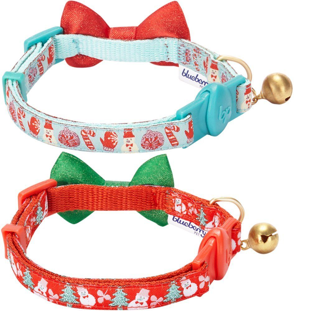 Blueberry Pet Multiple Designs Adjustable Breakaway Bowtie Cat Collar With Vary Package Pack Of 2 Holiday Celebrati Cat Bowtie Collar Pearl Charms Pet Collars