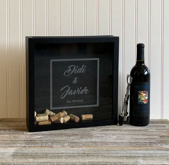 Cork Wedding Memory: Personalized Wine Cork Shadow Box Names Date Wedding