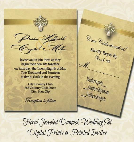 An Elegant Floral Jeweled Damask Wedding Set Save Money And Print Them Yourself Or Have Us Do The Printing For You