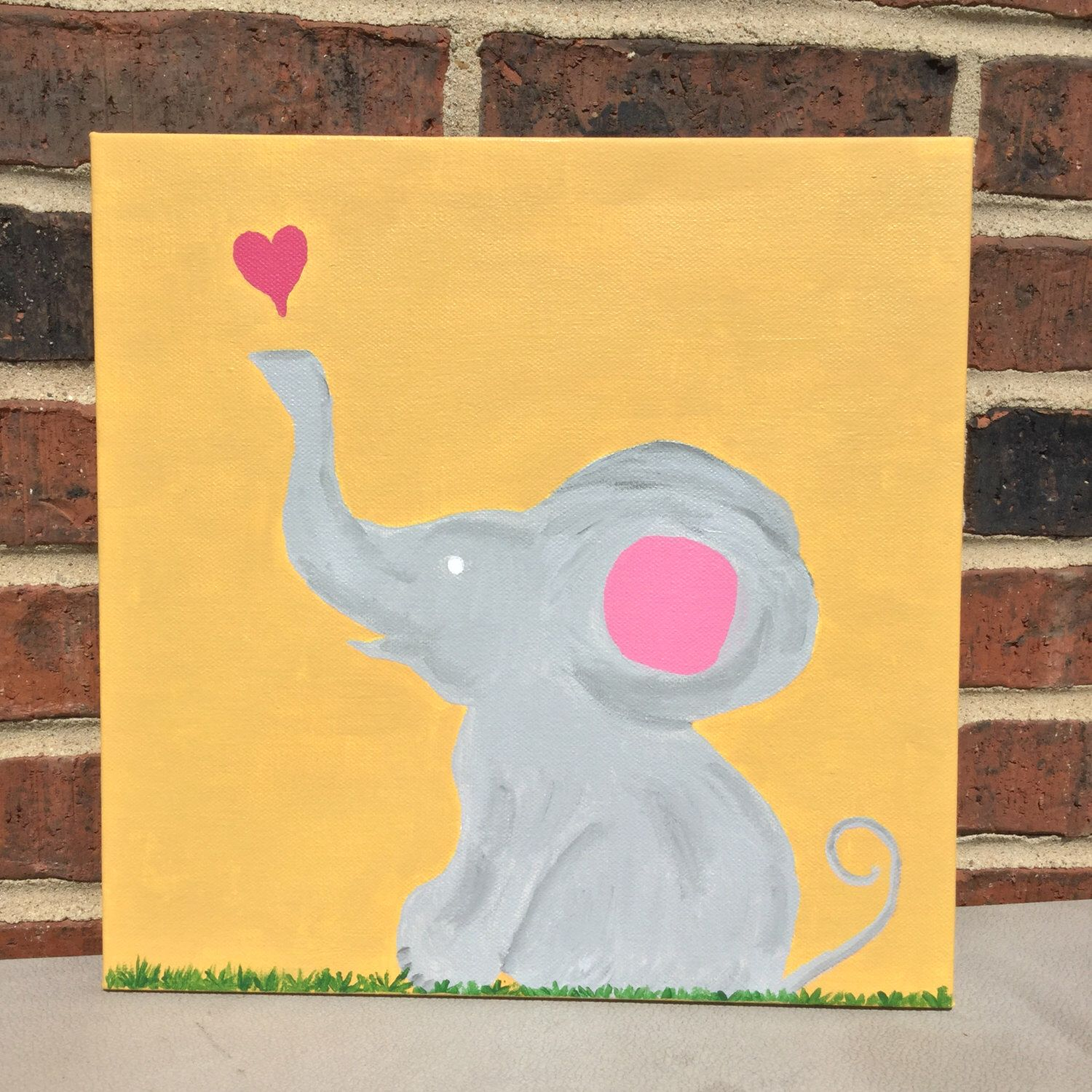 Elephant Painting Whimsical Nursery Wall Decor -Free Shipping ...