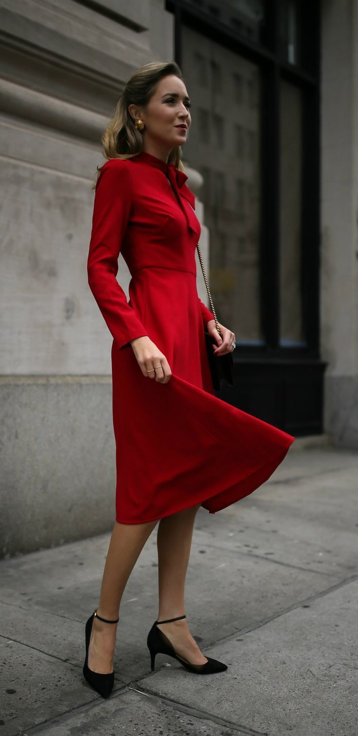 dresses in days business conference red long sleeve fit