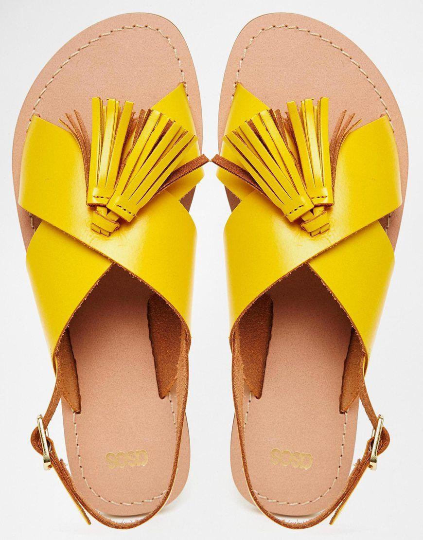 fc2c7525ce4a3e Image 3 of ASOS FOXTROT Leather Tassel Sandals