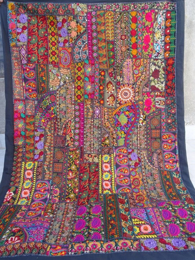 Vintage Tapestry Antique Indian Handmade Embroidered Patchwork Wall Hanging 0019 Vintage Tapestry Tapestry Antique Textiles