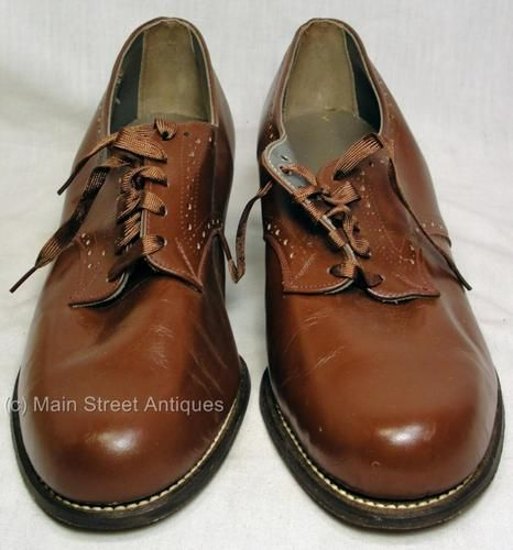 cfc30a65420d07 Vintage 1930 - 1940 Women s Brown Leather Perforated OXFORD DERBY Shoes Sz  9 2