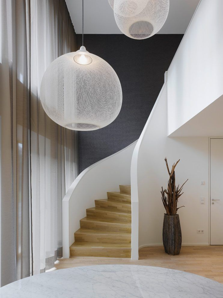 Lampen fr hohe decken staircase contemporary with transparente ...
