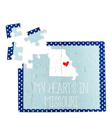 Blue & Gray 'My Heart Is' State Puzzle #zulily #zulilyfinds