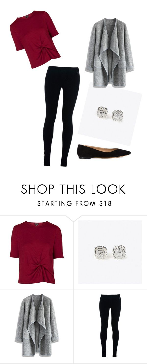"""""""Burgundy shirt and leggings"""" by lolocan on Polyvore featuring Topshop, Maria Corcuera, Chicwish, NIKE and Chloé"""