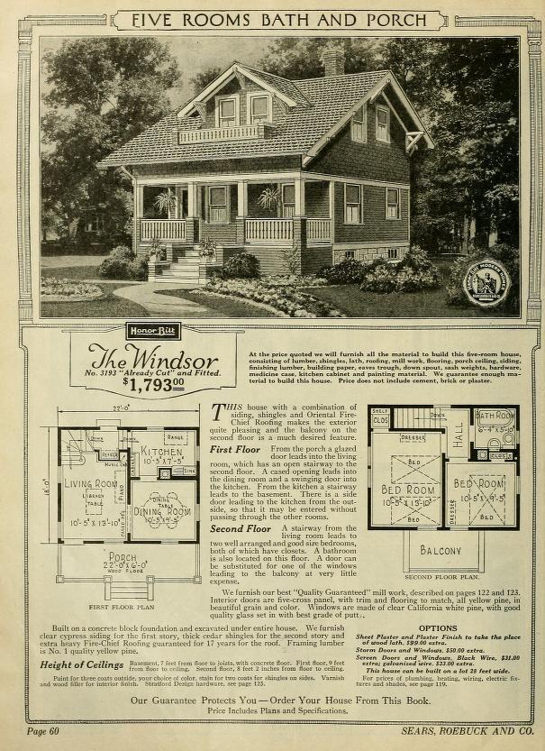 Sears Windsor 1922 3193 1923 1924 1925 3193 1926 3193 1927 1928 3193 1929 1930 1933 3193 Vintage House Plans Architectural Prints Vintage House