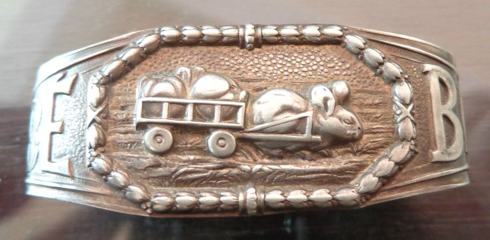 Portugal SILVER Napkin Ring with a Rabbit Pulling a Cart & Inscription Bebe